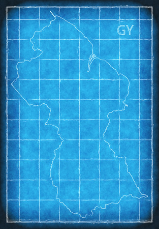 Guyana map blue print artwork illustration silhouette