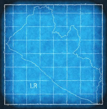 Liberia map blue print artwork illustration silhouette