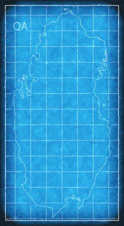 Qatar map blue print artwork illustration silhouette