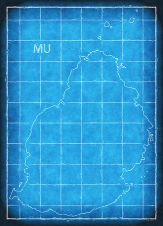 Mauritius map blue print artwork illustration silhouette Stock Photo