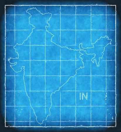 India map blue print artwork illustration silhouette