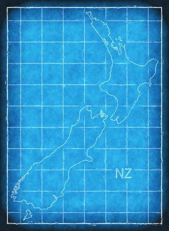 New Zealand map blue print artwork illustration silhouette Stock Photo