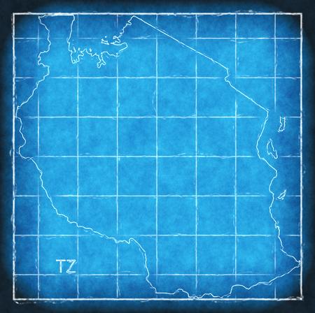 Tanzania map blue print artwork illustration silhouette Stock Photo