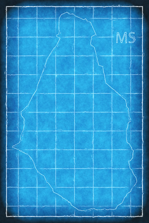 Montserrat map blue print artwork illustration silhouette
