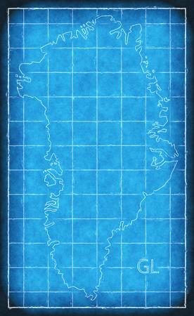 Greenland map blue print artwork illustration silhouette