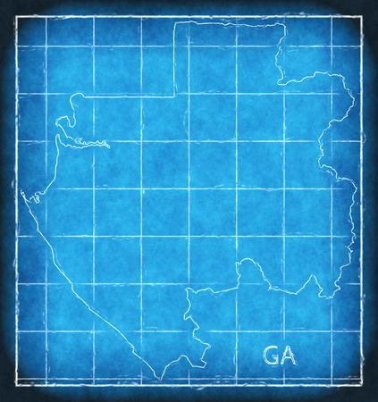 Gabon map blue print artwork illustration silhouette Stock Photo