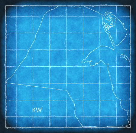 Kuwait map blue print artwork illustration silhouette