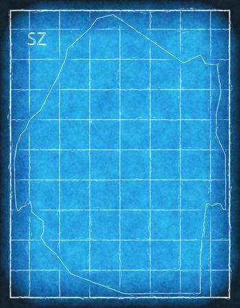 Swaziland map blue print artwork illustration silhouette Stock Photo