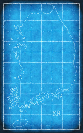 South Korea map blue print artwork illustration silhouette