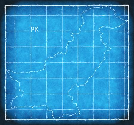 Pakistan map blue print artwork illustration silhouette