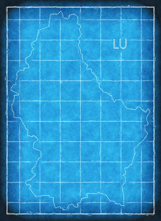 Luxembourg map blue print artwork illustration silhouette Stock Photo