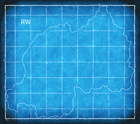 Rwanda map blue print artwork illustration silhouette Stock Photo