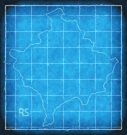 Kosovo map blue print artwork illustration silhouette Stock Photo