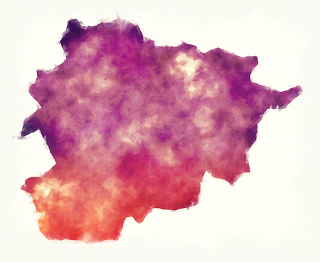 Andorra watercolor map in front of a white background Stock Photo