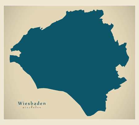 Modern City Map - Wiesbaden city of Germany DE Illustration