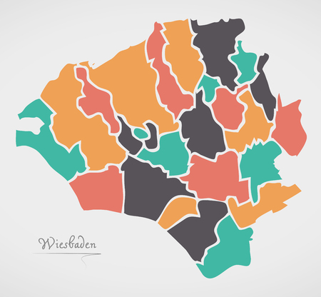 Wiesbaden Map with boroughs and modern round shapes