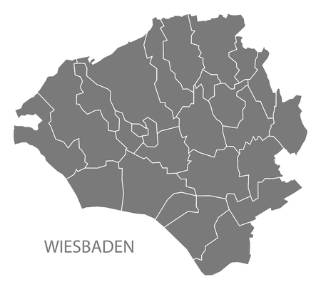 Wiesbaden city map with boroughs grey illustration silhouette shape Illustration
