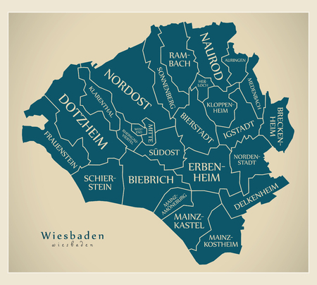 Modern City Map - Wiesbaden city of Germany with boroughs and titles DE Illustration