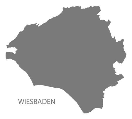 Wiesbaden city map grey illustration silhouette shape