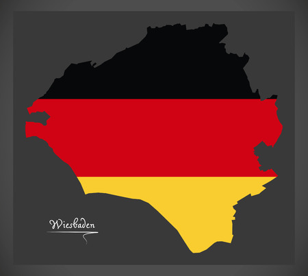 Wiesbaden City map with German national flag illustration