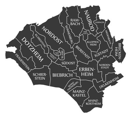 Wiesbaden City Map Germany DE labelled black illustration