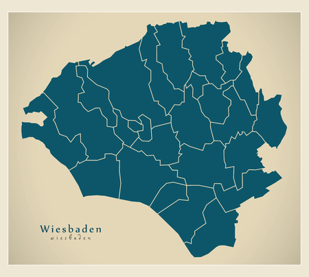 Modern City Map - Wiesbaden city of Germany with boroughs DE