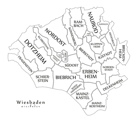 Modern City Map - Wiesbaden city of Germany with boroughs and titles