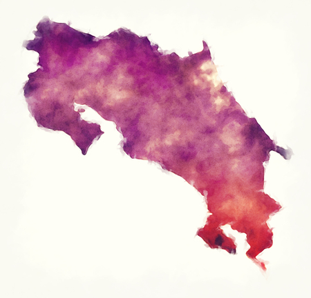 Costa Rica watercolor map in front of a white background