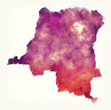 Congo Democratic Republic watercolor map in front of a white background