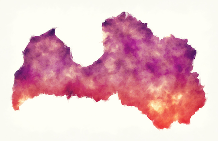 Latvia watercolor map in front of a white background