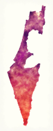 Israel watercolor map in front of a white background