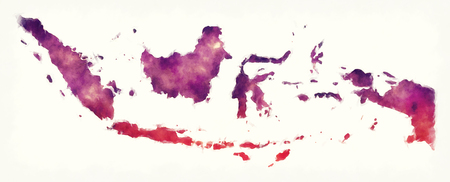 Indonesia watercolor map in front of a white background