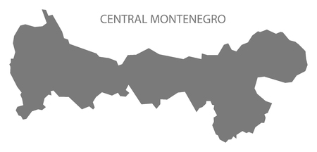 Central Montenegro map of Montenegro grey illustration silhouette shape Иллюстрация