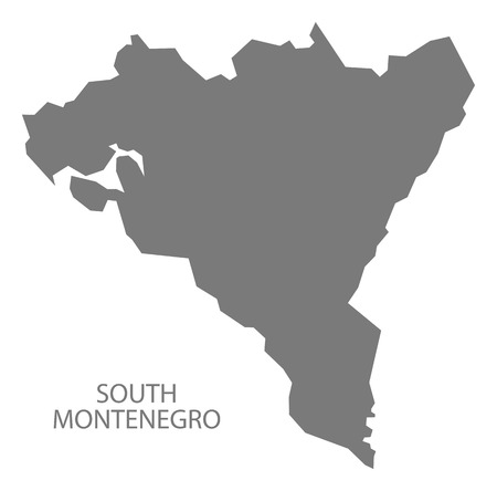 South Montenegro map of Montenegro grey illustration silhouette shape Иллюстрация
