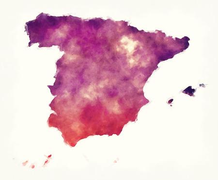 Spanje aquarel kaart voor een witte achtergrond Stockfoto