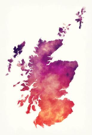 Scotland watercolor map in front of a white background Archivio Fotografico