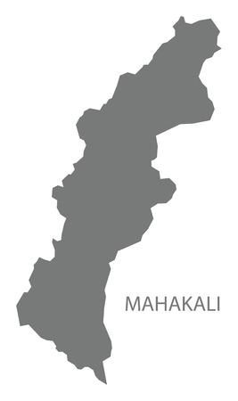 Mahakali map of Nepal grey illustration silhouette shape 向量圖像