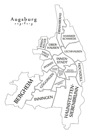 Modern City Map Augsburg City Of Germany With Boroughs And