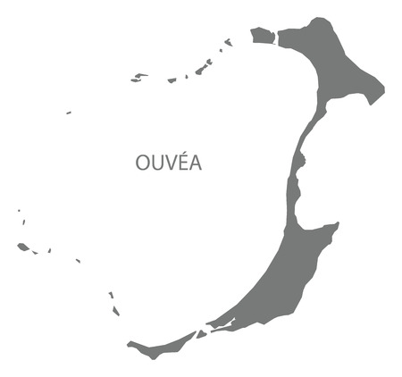 Ouvea map of New Caledonia grey illustration silhouette shape Çizim