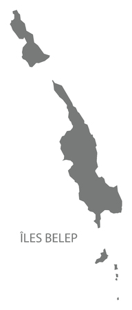 Iles Belep map of New Caledonia grey illustration silhouette shape