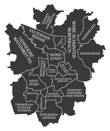 Braunschweig city map Germany DE labelled black illustration
