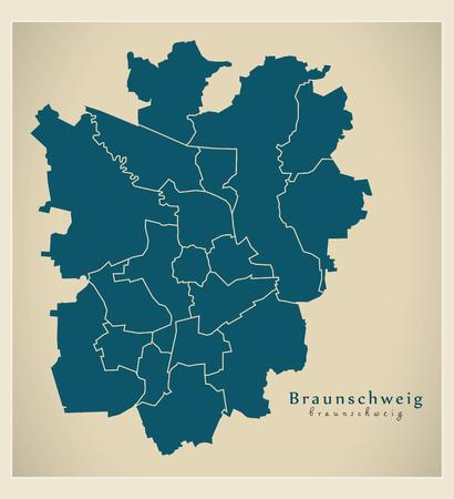 현대 도시지도 - 독일의 브라운 슈 바이크 도시 보로 DE