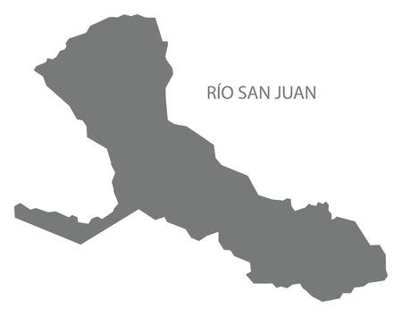 Rio San Juan map of Nicaragua grey illustration silhouette shape. Stock Illustratie