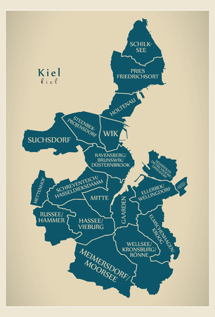 Modern City Map - Kiel city of Germany with boroughs and titles DE Illustration