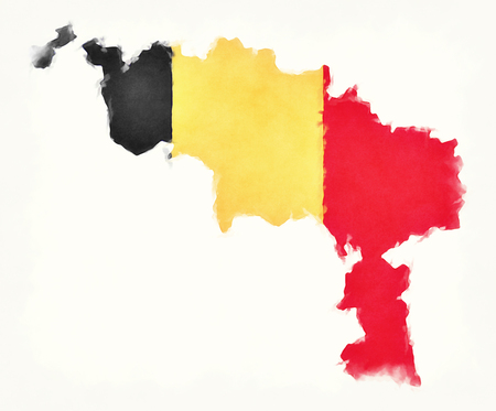 Hainaut watercolor map with Belgian national flag in front of a white background Stock Photo