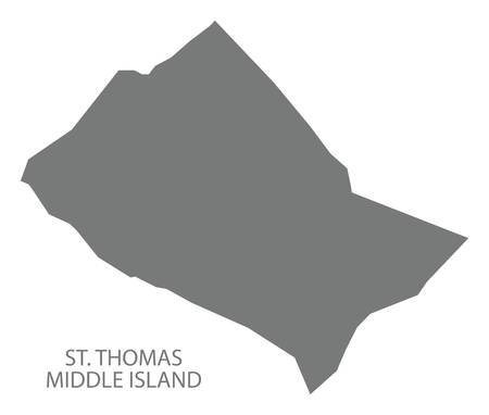 St. Thomas Middle Island map grey illustration silhouette shape