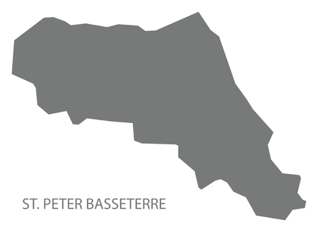 St. Peter Basseterre map grey illustration silhouette shape