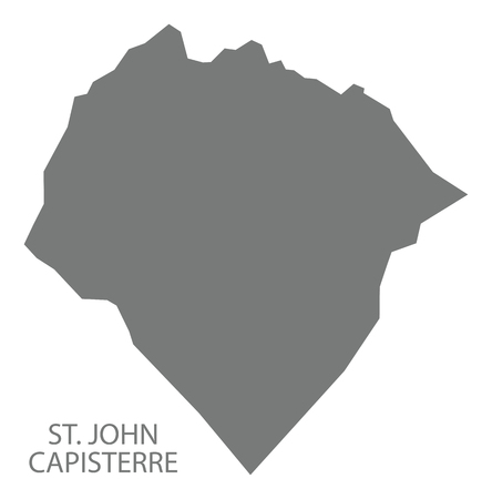St. John Capisterre map grey illustration silhouette shape