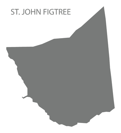 St. John Figtree map grey illustration silhouette shape
