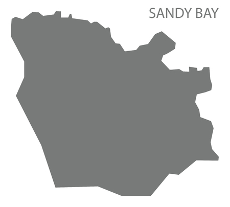 Sandy Bay map of Saint Vincent and the Grenadines grey illustration Illustration
